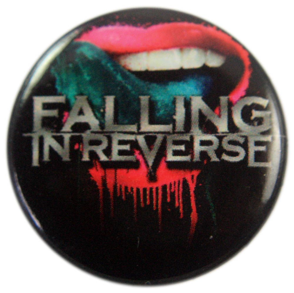 falling in reverse tongue logo button badge